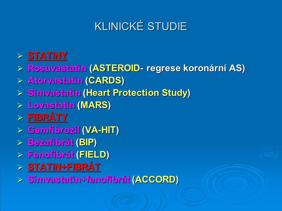KLINICKÉ STUDIE STATINY Rosuvastatin (ASTEROID- regrese koronární AS)