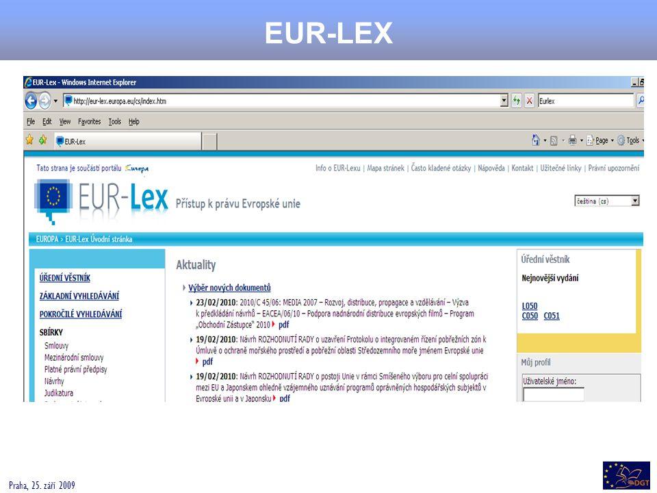 EUR-LEX Praha, 25. září 2009