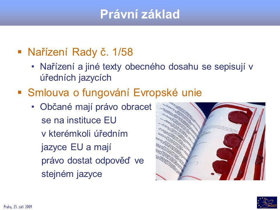 Právní základ Nařízení Rady č. 1/58 Smlouva o fungování Evropské unie
