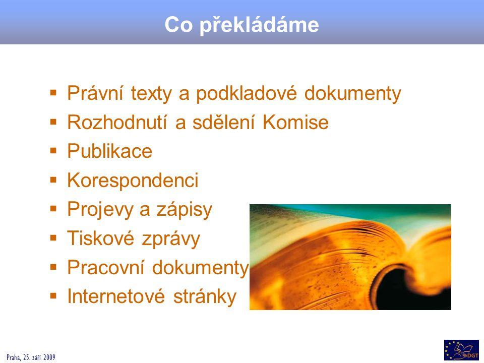 Co překládáme Právní texty a podkladové dokumenty