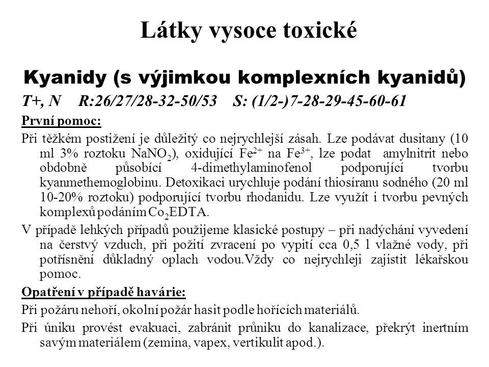 Kyanidy (s výjimkou komplexních kyanidů)