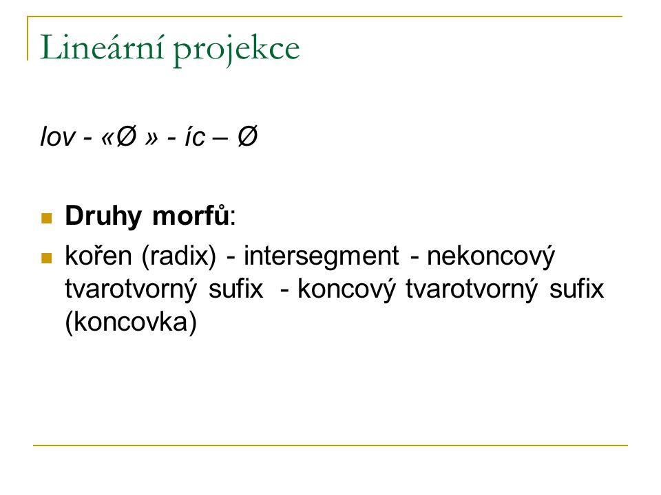 Lineární projekce lov - «Ø » - íc – Ø Druhy morfů: