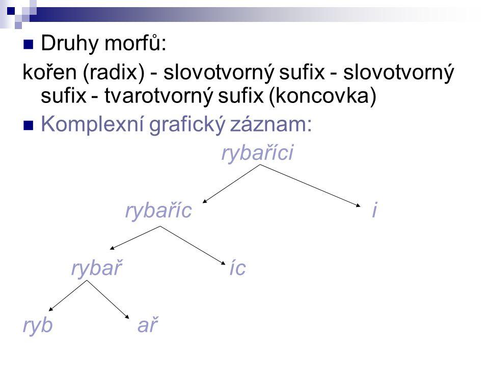 Druhy morfů: kořen (radix) - slovotvorný sufix - slovotvorný sufix - tvarotvorný sufix (koncovka) Komplexní grafický záznam: