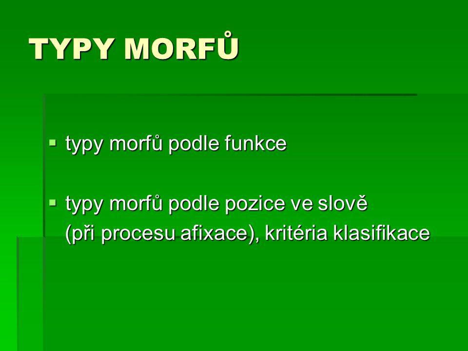 TYPY MORFŮ typy morfů podle funkce typy morfů podle pozice ve slově