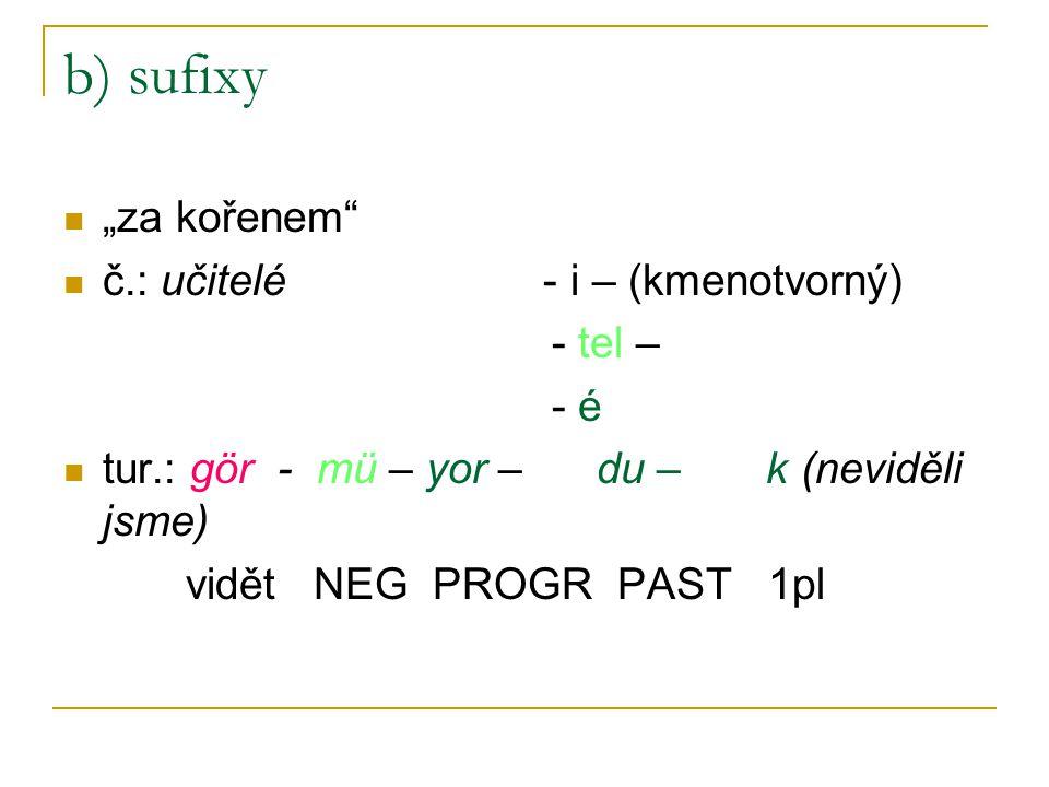 """b) sufixy """"za kořenem č.: učitelé - i – (kmenotvorný) - tel – - é"""