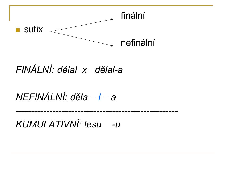 finální sufix. nefinální. FINÁLNÍ: dělal x dělal-a. NEFINÁLNÍ: děla – l – a. ----------------------------------------------------