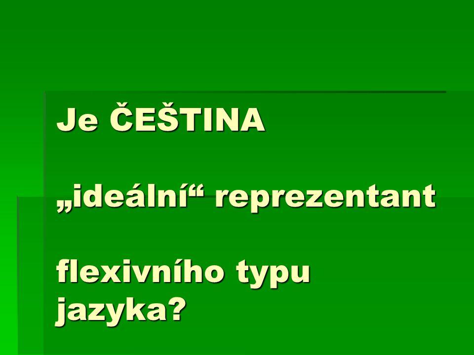 """Je ČEŠTINA """"ideální reprezentant flexivního typu jazyka"""