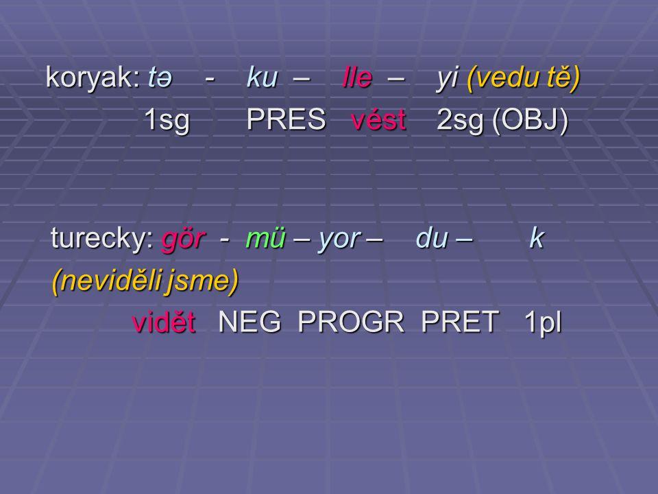 koryak: tə - ku – lle – yi (vedu tě)