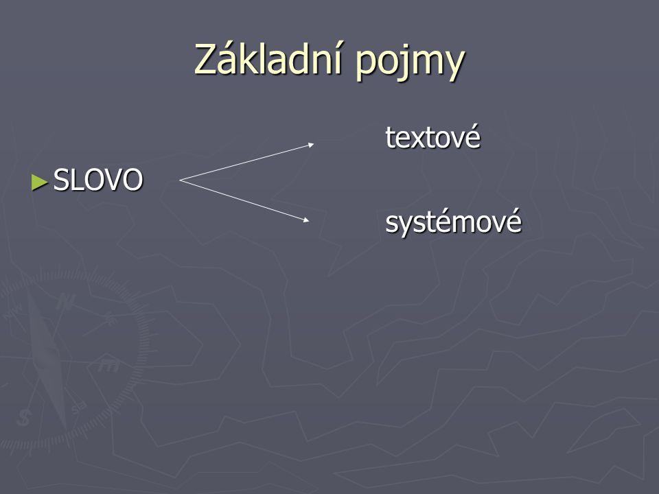 Základní pojmy textové SLOVO systémové