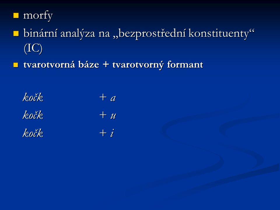 """binární analýza na """"bezprostřední konstituenty (IC)"""