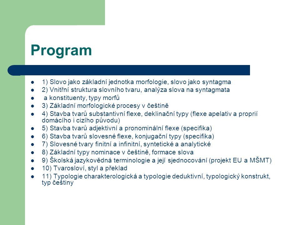 Program 1) Slovo jako základní jednotka morfologie, slovo jako syntagma. 2) Vnitřní struktura slovního tvaru, analýza slova na syntagmata.