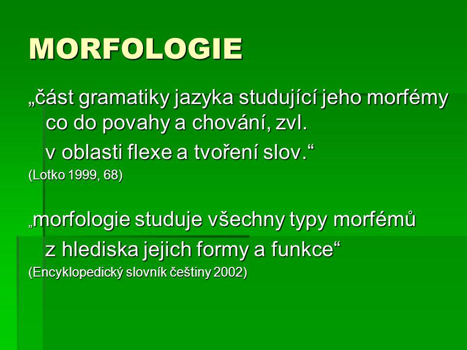 """MORFOLOGIE """"část gramatiky jazyka studující jeho morfémy co do povahy a chování, zvl. v oblasti flexe a tvoření slov."""