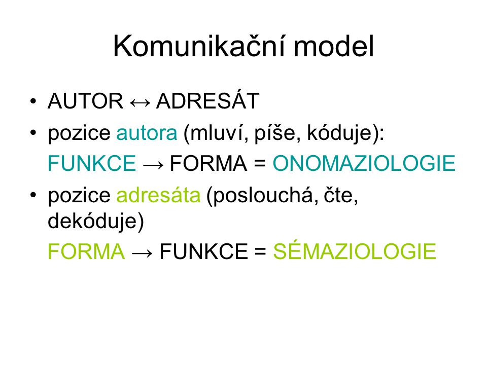 Komunikační model AUTOR ↔ ADRESÁT pozice autora (mluví, píše, kóduje):