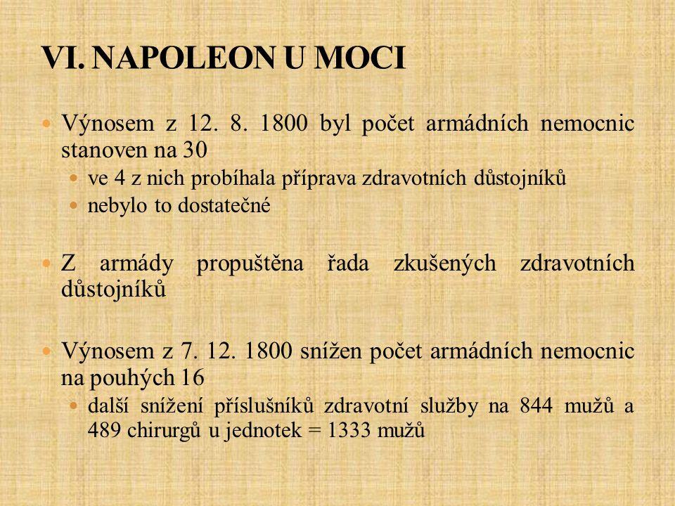 VI. NAPOLEON U MOCI Výnosem z 12. 8. 1800 byl počet armádních nemocnic stanoven na 30. ve 4 z nich probíhala příprava zdravotních důstojníků.