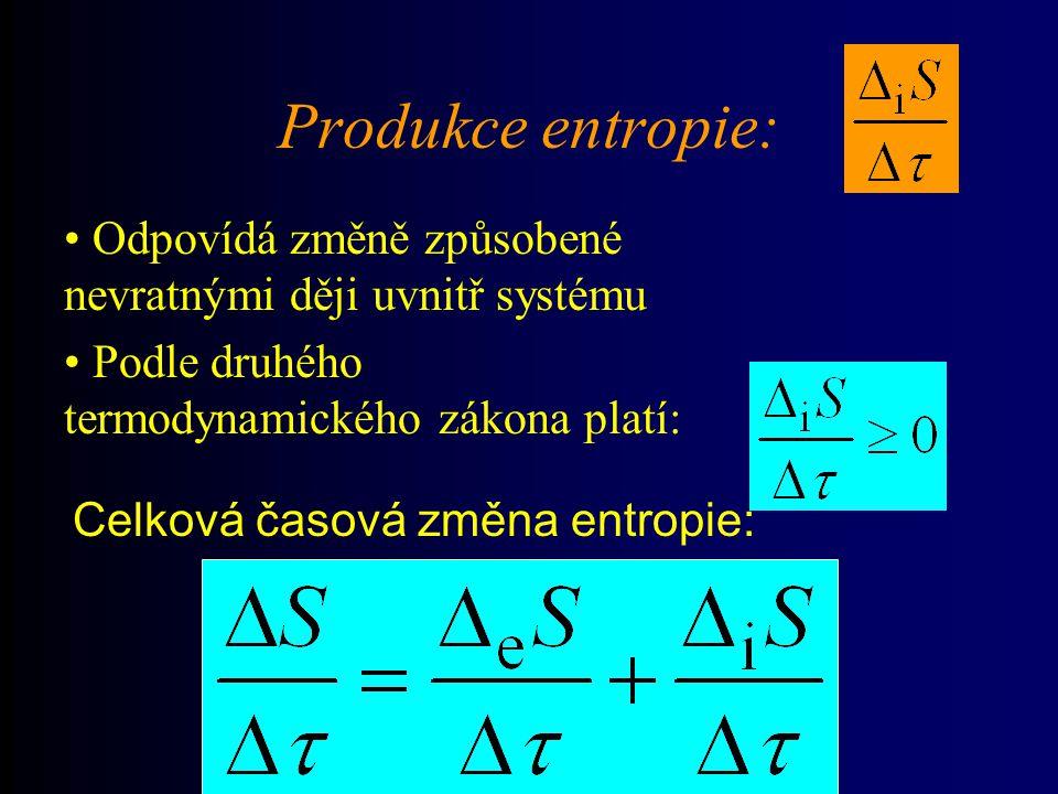 Produkce entropie: Odpovídá změně způsobené nevratnými ději uvnitř systému. Podle druhého. termodynamického zákona platí: