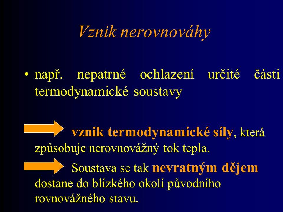 Vznik nerovnováhy např. nepatrné ochlazení určité části termodynamické soustavy. vznik termodynamické síly, která způsobuje nerovnovážný tok tepla.