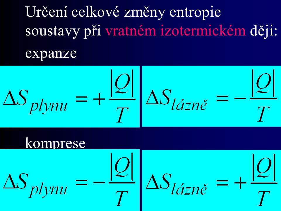 Určení celkové změny entropie soustavy při vratném izotermickém ději: