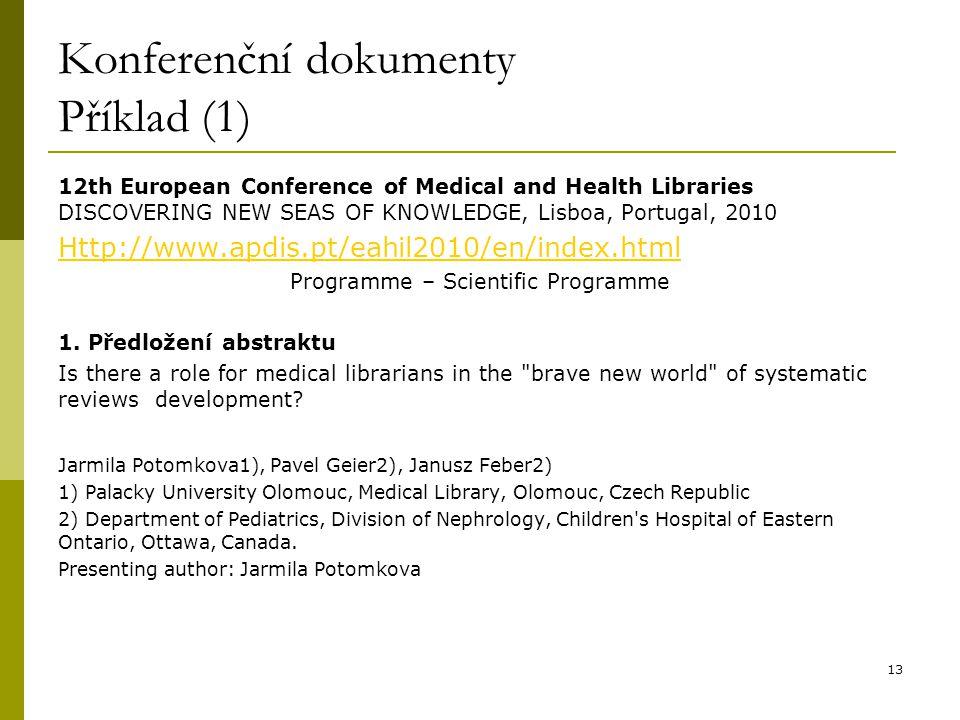 Konferenční dokumenty Příklad (1)