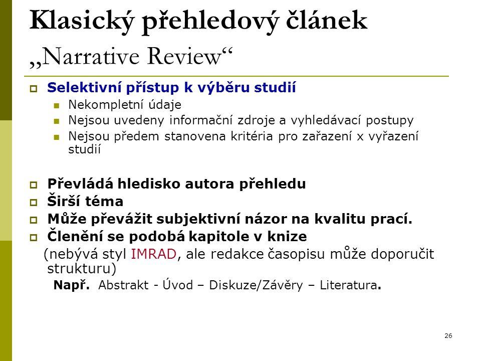 """Klasický přehledový článek """"Narrative Review"""