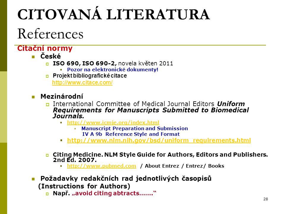 CITOVANÁ LITERATURA References
