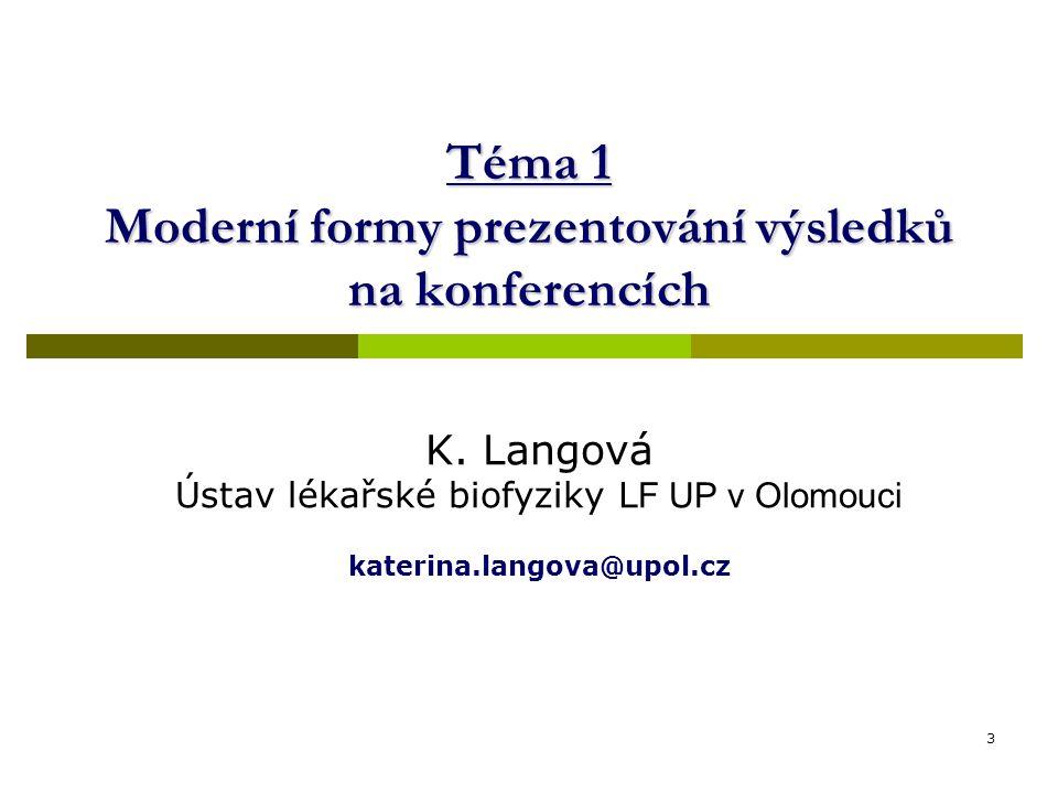 Téma 1 Moderní formy prezentování výsledků na konferencích