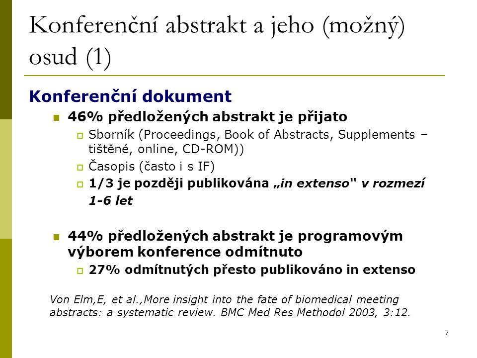 Konferenční abstrakt a jeho (možný) osud (1)