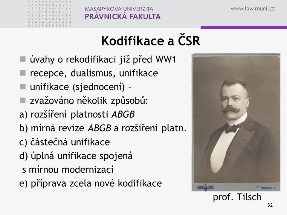 Kodifikace a ČSR úvahy o rekodifikaci již před WW1