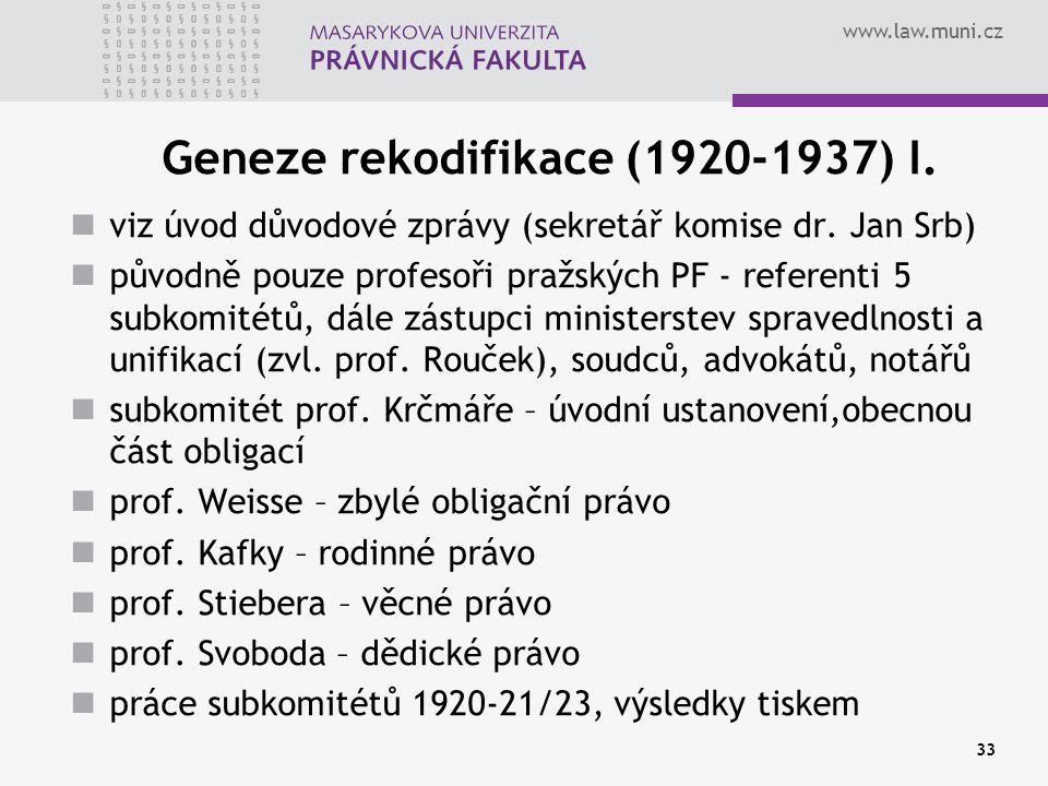 Geneze rekodifikace (1920-1937) I.