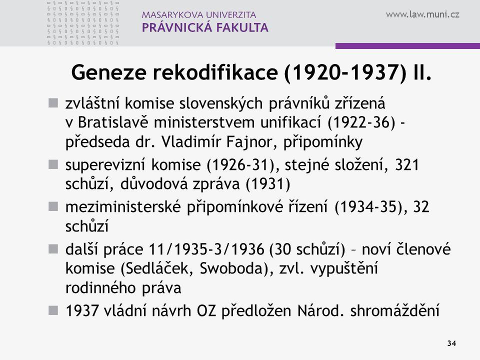 Geneze rekodifikace (1920-1937) II.