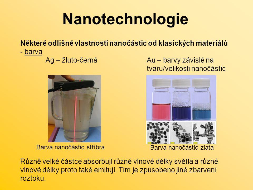 Nanotechnologie Některé odlišné vlastnosti nanočástic od klasických materiálů. barva.