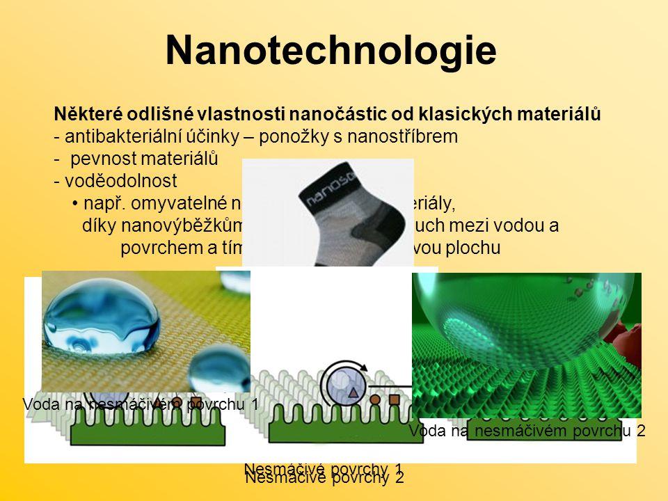 Nanotechnologie Některé odlišné vlastnosti nanočástic od klasických materiálů. antibakteriální účinky – ponožky s nanostříbrem.