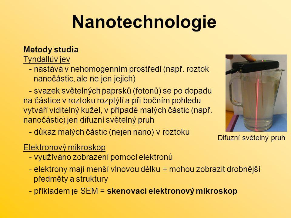 Nanotechnologie Metody studia Tyndallův jev