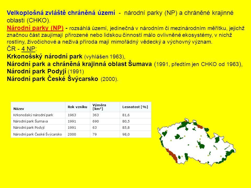 Krkonošský národní park (vyhlášen 1963),