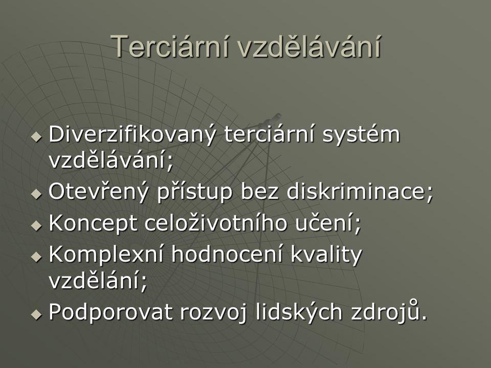 Terciární vzdělávání Diverzifikovaný terciární systém vzdělávání;