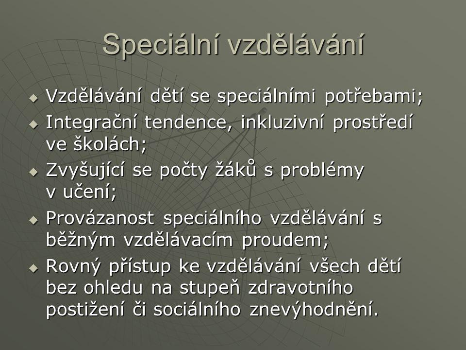 Speciální vzdělávání Vzdělávání dětí se speciálními potřebami;