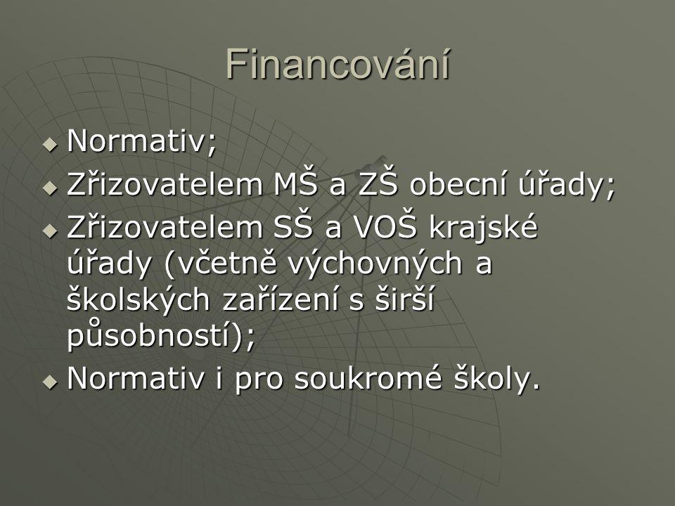 Financování Normativ; Zřizovatelem MŠ a ZŠ obecní úřady;