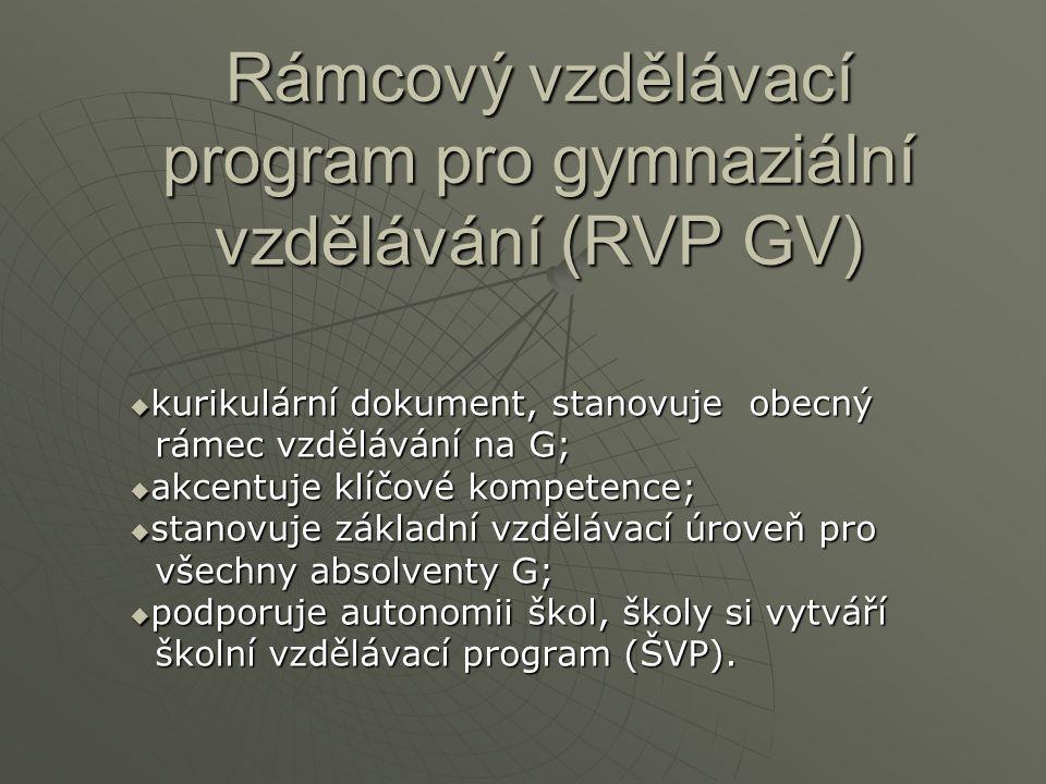 Rámcový vzdělávací program pro gymnaziální vzdělávání (RVP GV)