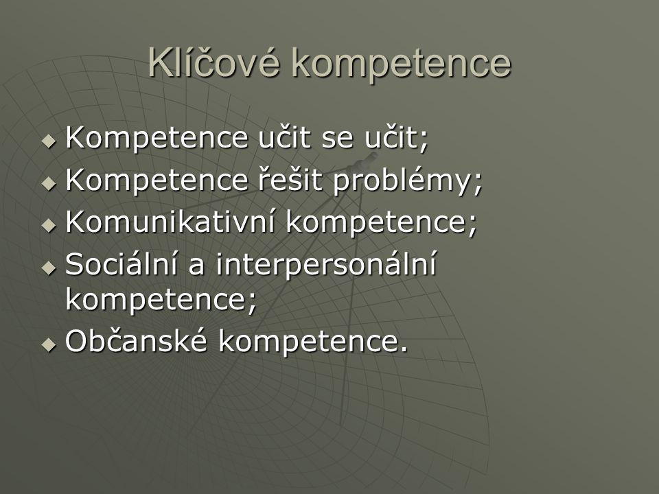 Klíčové kompetence Kompetence učit se učit; Kompetence řešit problémy;
