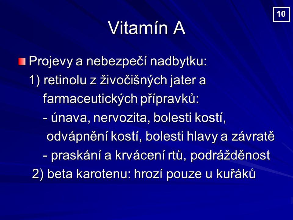 Vitamín A Projevy a nebezpečí nadbytku: