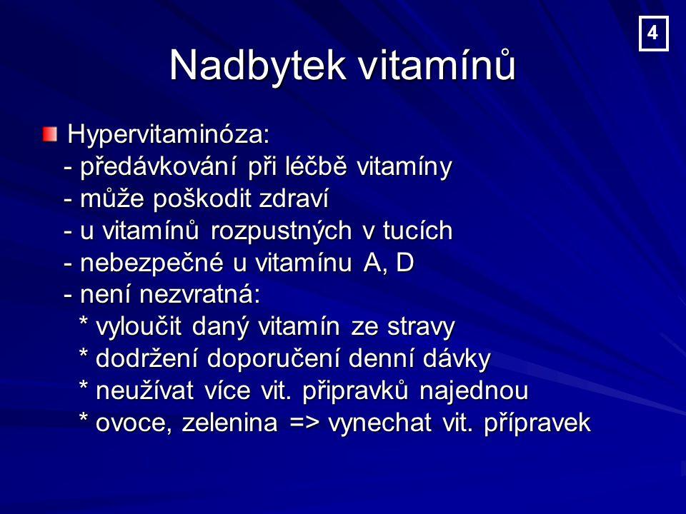 Nadbytek vitamínů Hypervitaminóza: - předávkování při léčbě vitamíny
