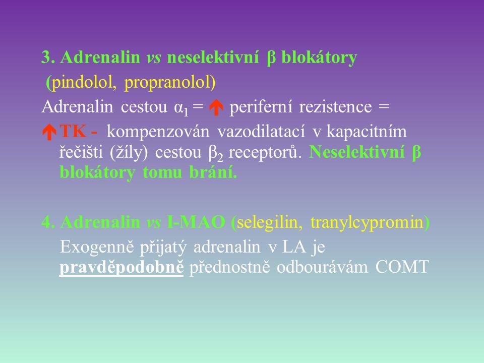 3. Adrenalin vs neselektivní β blokátory