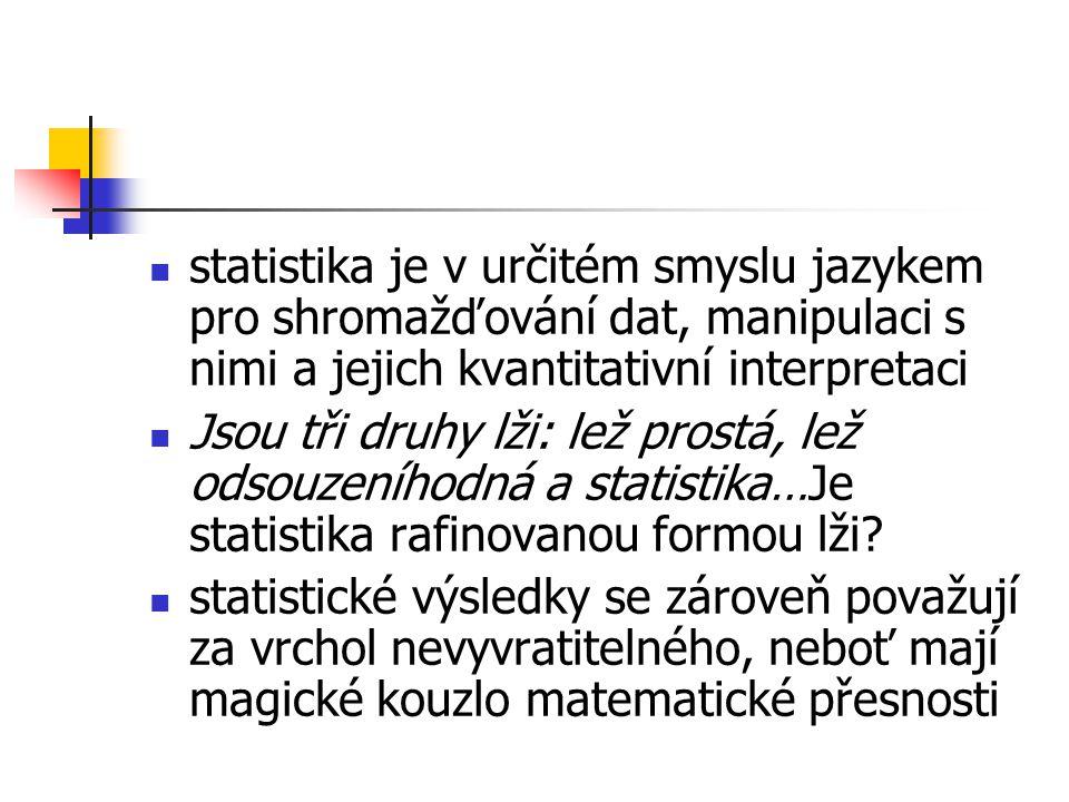 statistika je v určitém smyslu jazykem pro shromažďování dat, manipulaci s nimi a jejich kvantitativní interpretaci