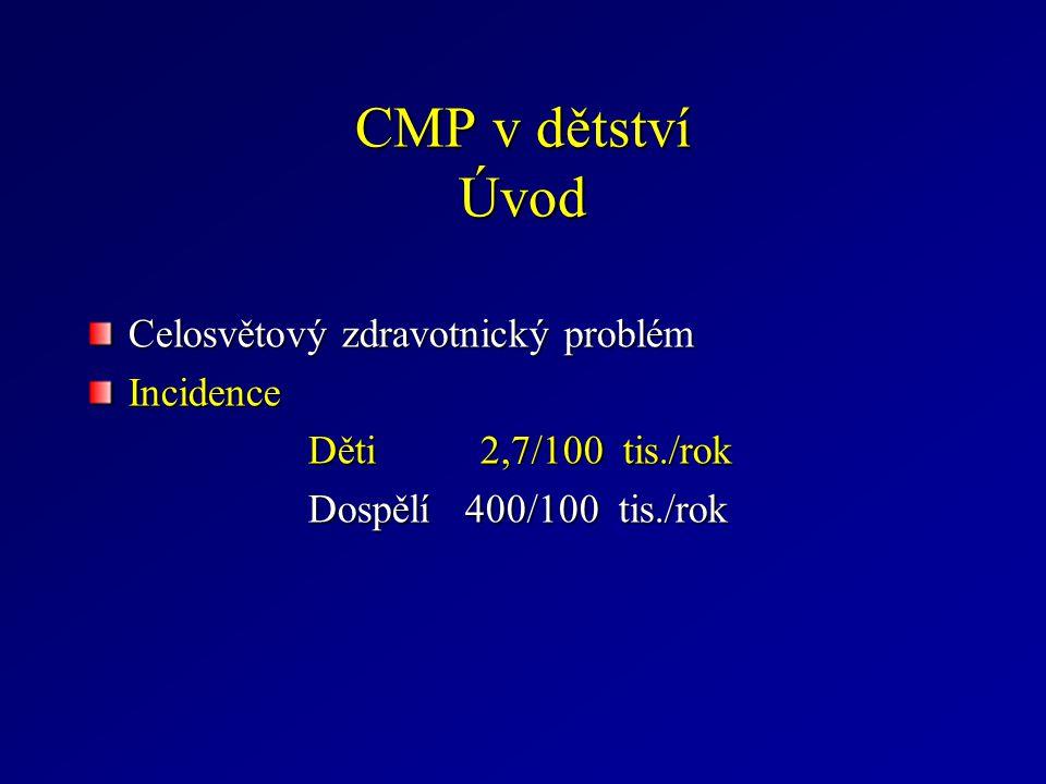 CMP v dětství Úvod Celosvětový zdravotnický problém Incidence