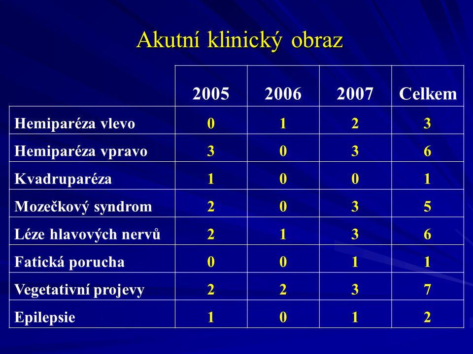 Akutní klinický obraz 2005 2006 2007 Celkem Hemiparéza vlevo 1 2 3
