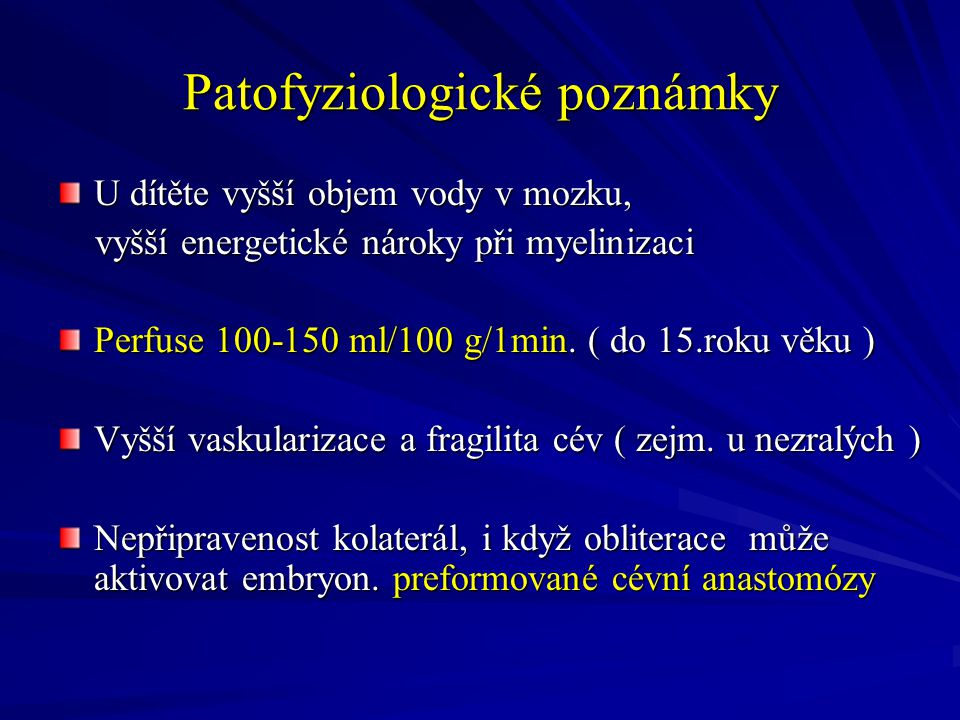 Patofyziologické poznámky