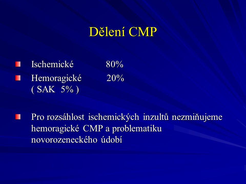 Dělení CMP Ischemické 80% Hemoragické 20% ( SAK 5% )
