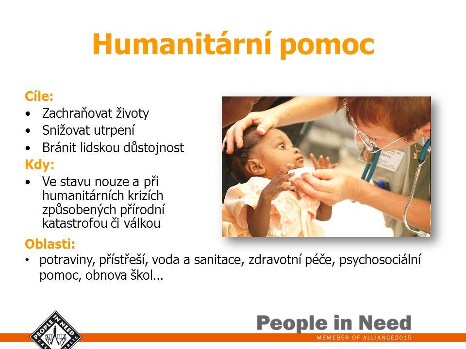 Humanitární pomoc Cíle: Zachraňovat životy Snižovat utrpení