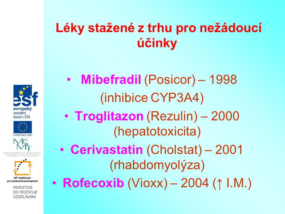 Léky stažené z trhu pro nežádoucí účinky