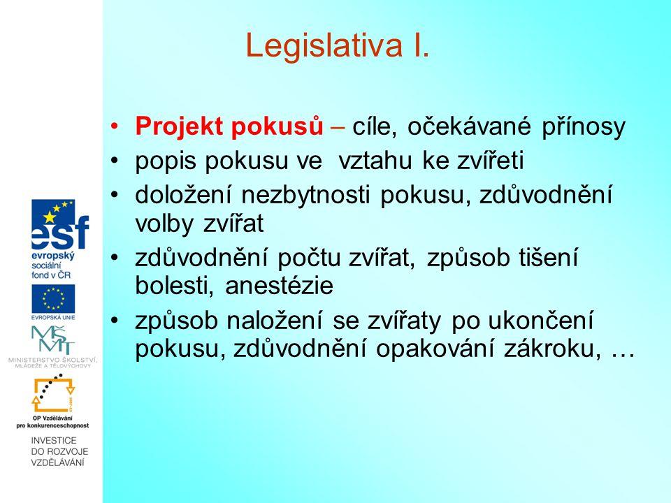 Legislativa I. Projekt pokusů – cíle, očekávané přínosy