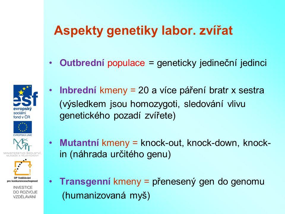 Aspekty genetiky labor. zvířat